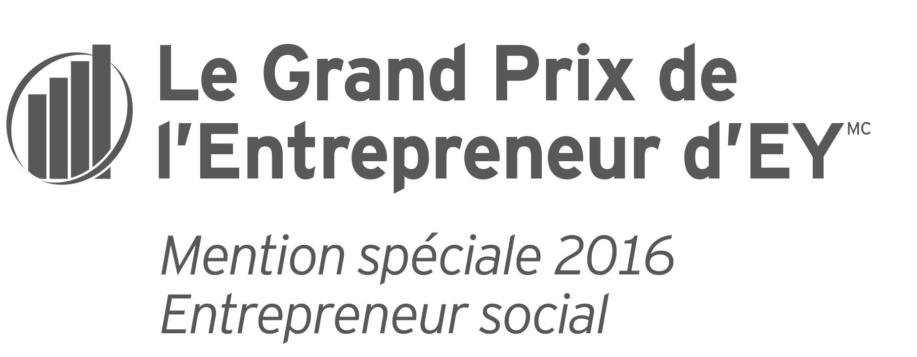 Le Grand Prix de l'Entrepreneur d'EY, Mention spéciale 2016 Entrepreneur social